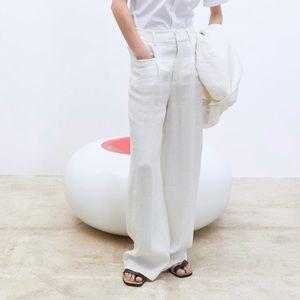 Zara Wide Leg Linen Pants In Ecru Size XS